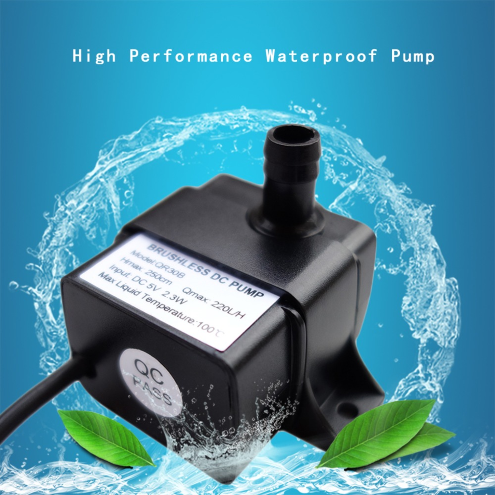 Professional Low Noise QR30B DC 5V 2.3W 220L/H Flow Rate Waterproof IP68 CPU Cooling Car Brushless Water Pump