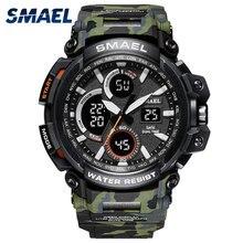 SMAEL – Montre de sport numérique et étanche pour homme, horloge, militaire, LED, 1708B