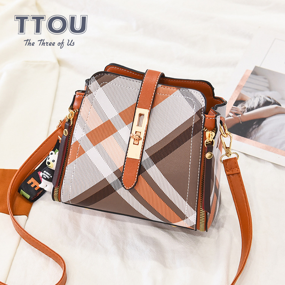 New Fashion Plaid Patter Women Handbag PU Leather Lady Shoulder Bag Quality Female Tote Bag Solid Color Design Shoulder Bag