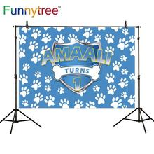 Funnytree custom backdrop cartoon dog 1st Birthday background party photophone boy photo studio photography photozone