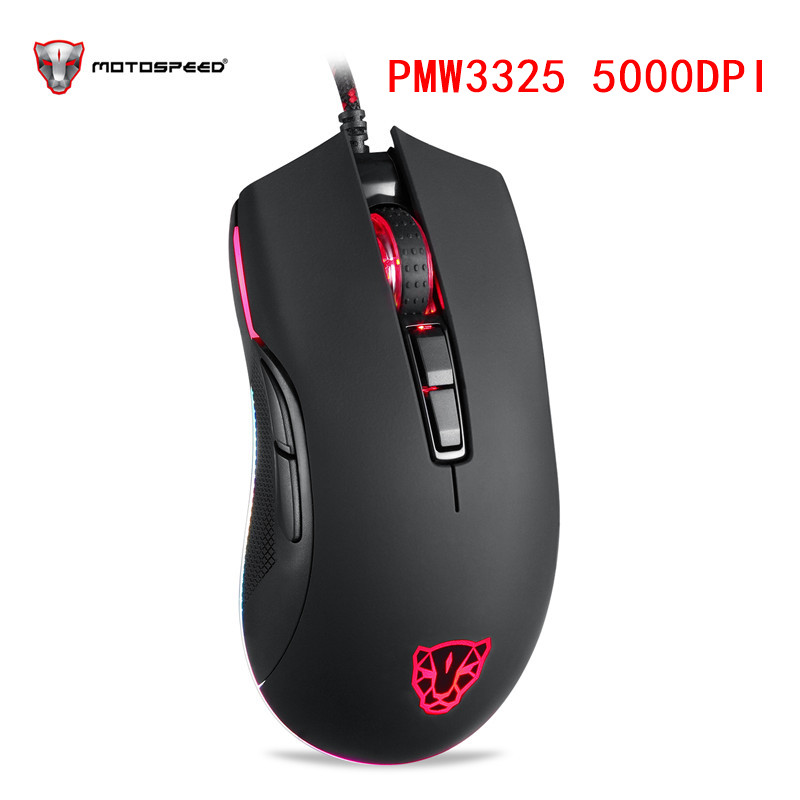 Motospeed V70 USB Wired Gaming Mouse PMW3325 <font><b>5000DPI</b></font> Computer RGB LED Multi-Color Backlight Send With Box image