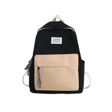 Teenager School Bags for Girls Backpack Women Bookbags Canvas Pink Patchwork Alphabet Design Preppy Style Student Teen Schoolbag cheap BOWEEN zipper 0 5kg Polyester 40cm bag school 2020 14cm 31cm 2020 school bags girls