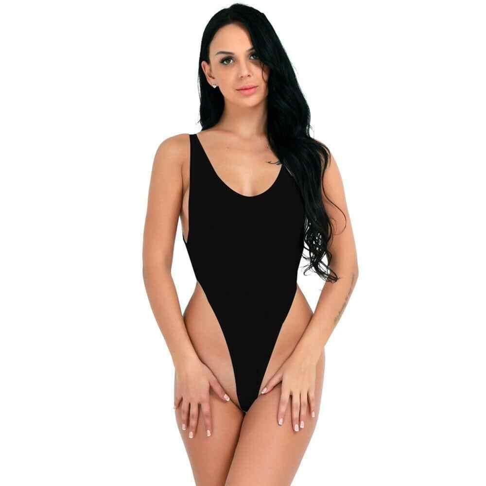 Body Tanga 2019 mujer nuevo sin espalda sin mangas verano playa Bodysuit Slim Cami Navy Cross Body Suit mono ropa de dormir a27