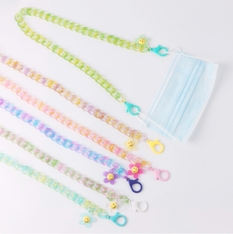 Anti-lost Face Cover Mask Chain Smily Flower Acrylic Lanyard Glasses Lanyard Necklace for Women Long Chain Necklace Strap Holder