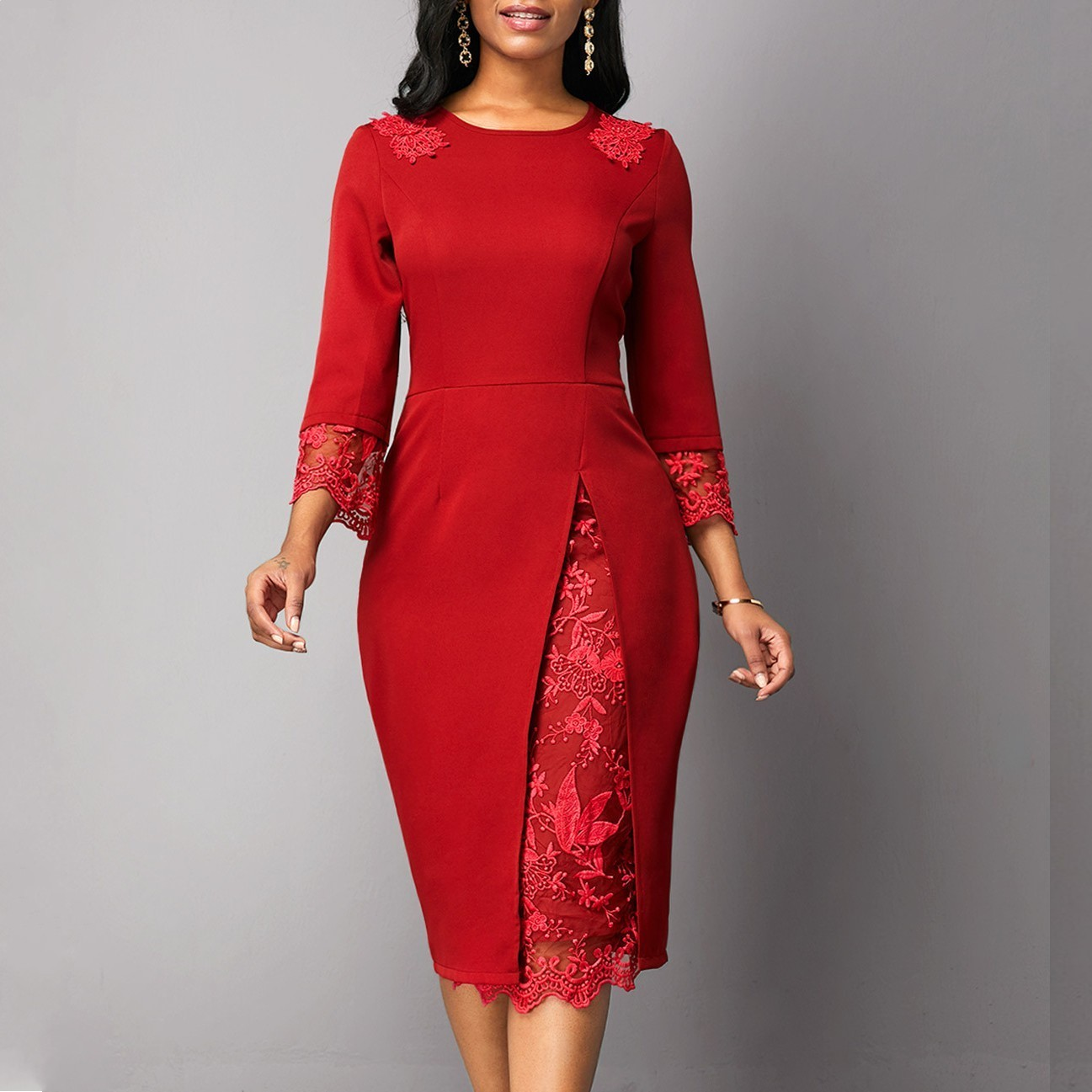 African Clothes 2020 Elegant Red Dress Women Office Lady Plus Size 4XL 5XL O-Neck Bandage Bodycon Pencil Dress Robe High Quality