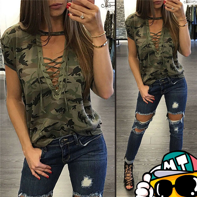2019 Women Ladies Casual Summer T-shirt Short Sleeve Deep V-Neck T-shirts Tee Fashion TShirt Hoilday Camouflage Lace UP T-ShirtS