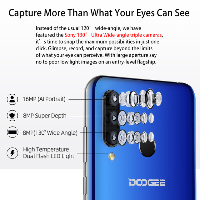 DOOGEE N20 Mobilephone Fingerprint 6.3inch FHD+ Display 16MP Triple Back Camera 64GB 4GB MT6763 Octa Core 4350mAh Cellphone LTE 1