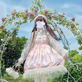 Japanese Kawaii Angel Hourglass Lolita Dress Girl Jsk Sling Sleeveless Dress renaissance gothic dress tea party sweet lolita jsk kitten in garden series sweet lolita jsk dress by soufflesong