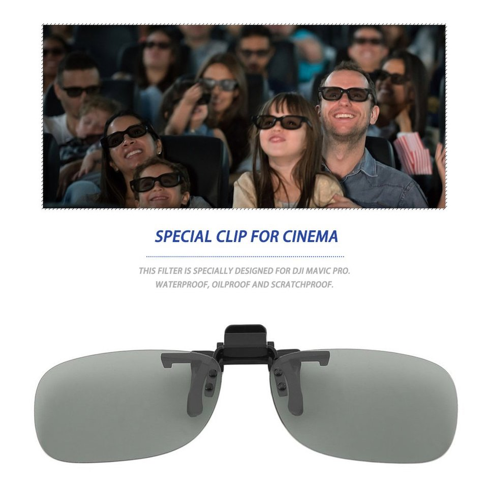 ZJL220 1 Pair Clip On Type Passive Circular Polarized 3D Glasses Clips for 3D TV Movie