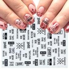 1pc Schwarz Brief Nagel Slider 3d Aufkleber Streifen Band Folie Wrap Adhesive Aufkleber für Nail art Designs Maniküre Decor LASTZG023 031 2