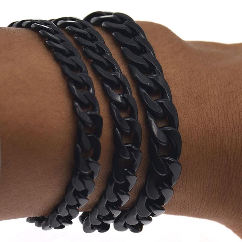 Vintage Cuban Bracelet for Men Black Rock Link Chain Bracelets & Bangles Fashion Punk Party Jewellery