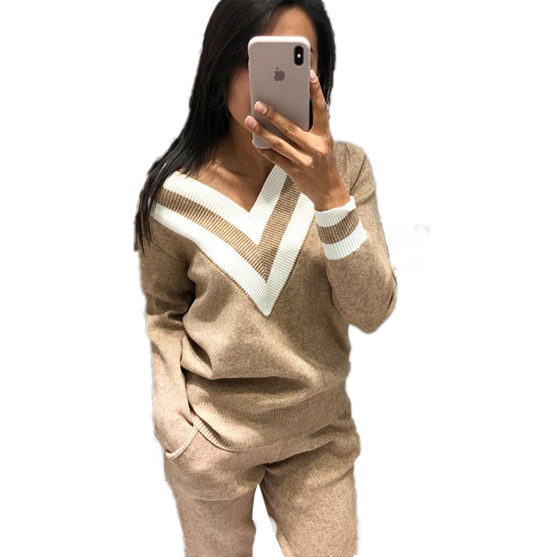 MVGIRLRU Autumn And Winter Color Matching V-neck Sweater + Beam Pants Knitted Two-piece Suit