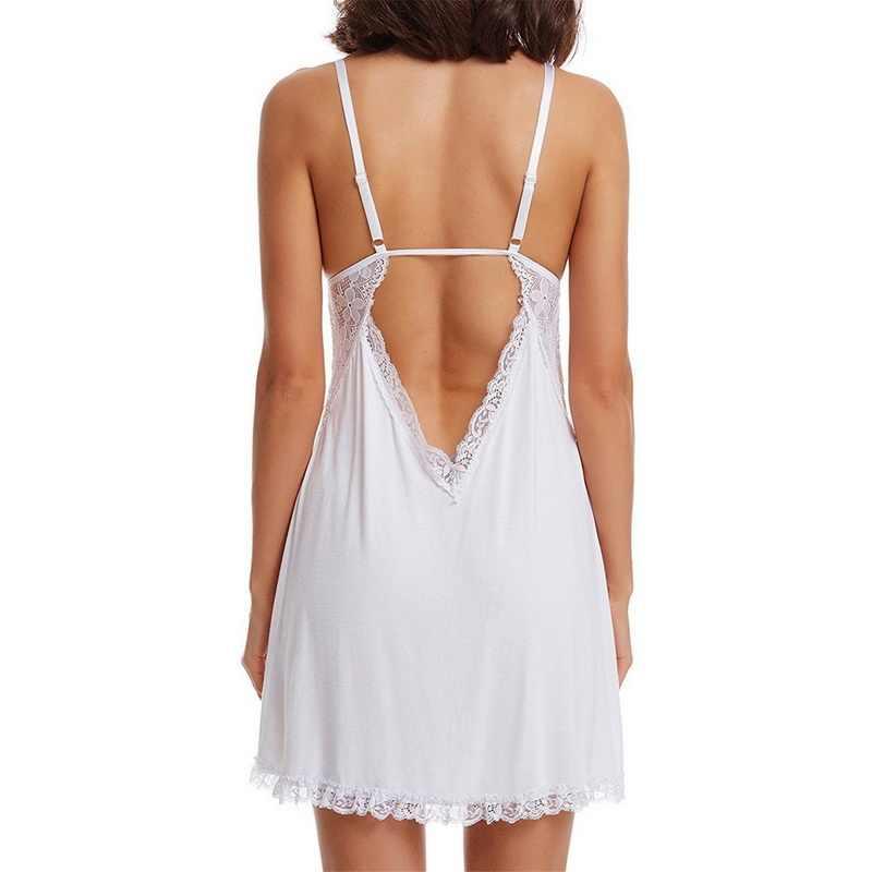 2020 mode Frauen Nacht Kleid Solide Lace Spaghetti Strap Damen Nachtwäsche Sexy Tiefe V Hals Bogen Weibliche Nachthemden & Sleep