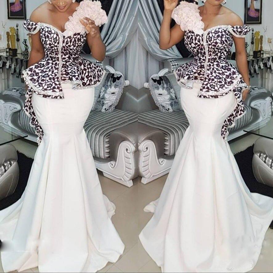 Modest Plus Size African Mermaid Evening Dresses Off Shoulder Lace Peplum Aso Ebi Long Prom Dress Formal Wear Robe De Soiree