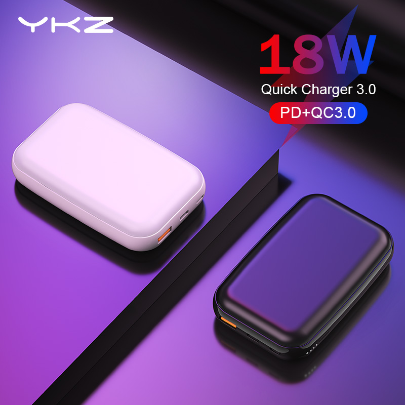 YKZ Mini Power Bank 10000mAh Pover Bank QC 3.0 Type C PD Fast Charging Powerbank Charger External Battery For IPhone Xiaomi Mi