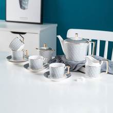 Чайный сервиз из 11 предметов золотой и белый керамический чайный