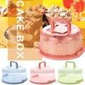 Caixa de armazenamento de bolo de plástico handheld ferramenta de cozinha aniversário nenhuma deformação redonda portátil barra de vedação cupcake recipiente casamento