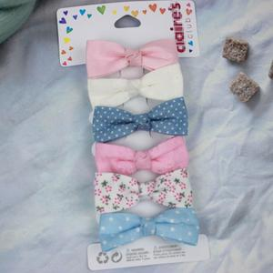 6Pcs/Set Fresh And Cute Little Bow Tie Baby Hairpin 4CM Flannel Girl Head Clip Children Hair Accessories Wholesale