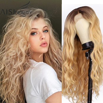 Synthetic Lace Front Wigs Blonde Long Wavy for Black Women Middle Division Heat Resistant Fibre Kanekalonn Cosplay Wig Fake - discount item  30% OFF Synthetic Hair