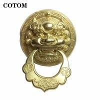 1Pcs Large Vintage Brass Die Casting Lion Head Door Knocker pull door handle Solid Wood Villa Courtyard Gate Ring Door Knob