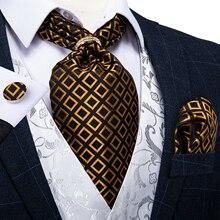 New Design Gold Check Vintage Men Silk Cravat Ascot Tie Scrunch British Style Wedding Formal Necktie Handkerchief Set DiBanGu