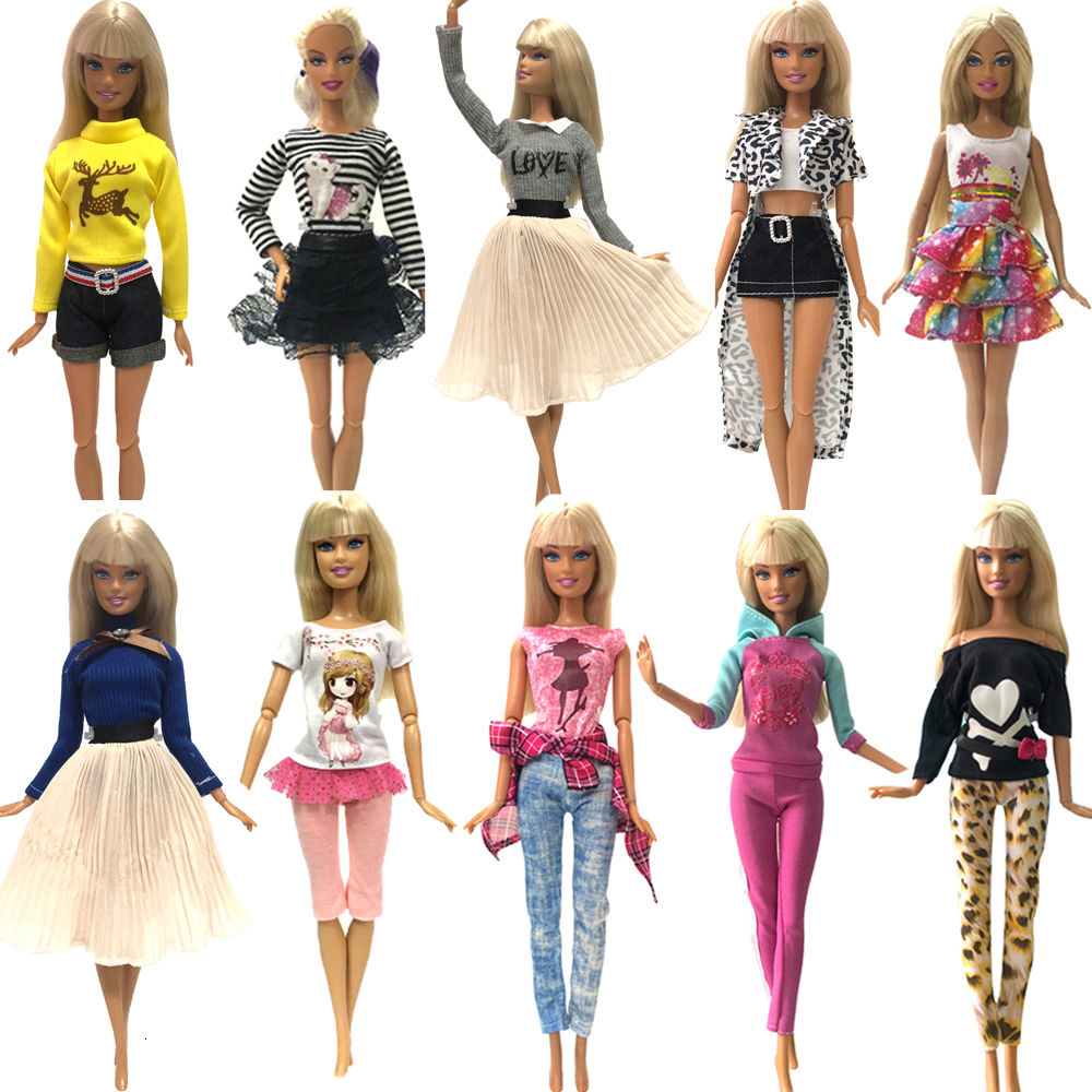 2019 Newest Doll Dress Fashion Casual Wear Handmade Clothes Outfits For Barbie Doll Accessories Best DIY Toys For Doll JJ image