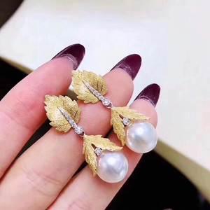 Женские серьги-подвески из чистого серебра 925 пробы, круглые серьги с жемчугом белого цвета, 1030
