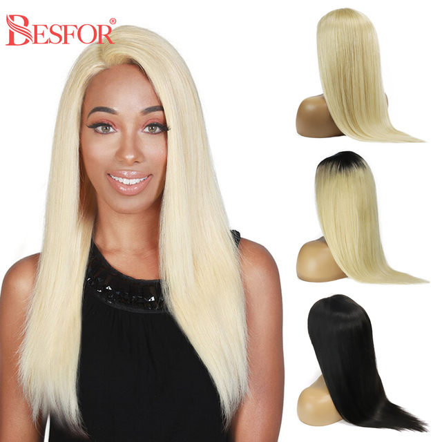 $ US $55.27 BESFOR Ombre 613 Blonde 4*4 Lace Closure Frontal Human Hair Wigs Pre Plucked Glueless Remy Straight Natural Black Lace Front Wig