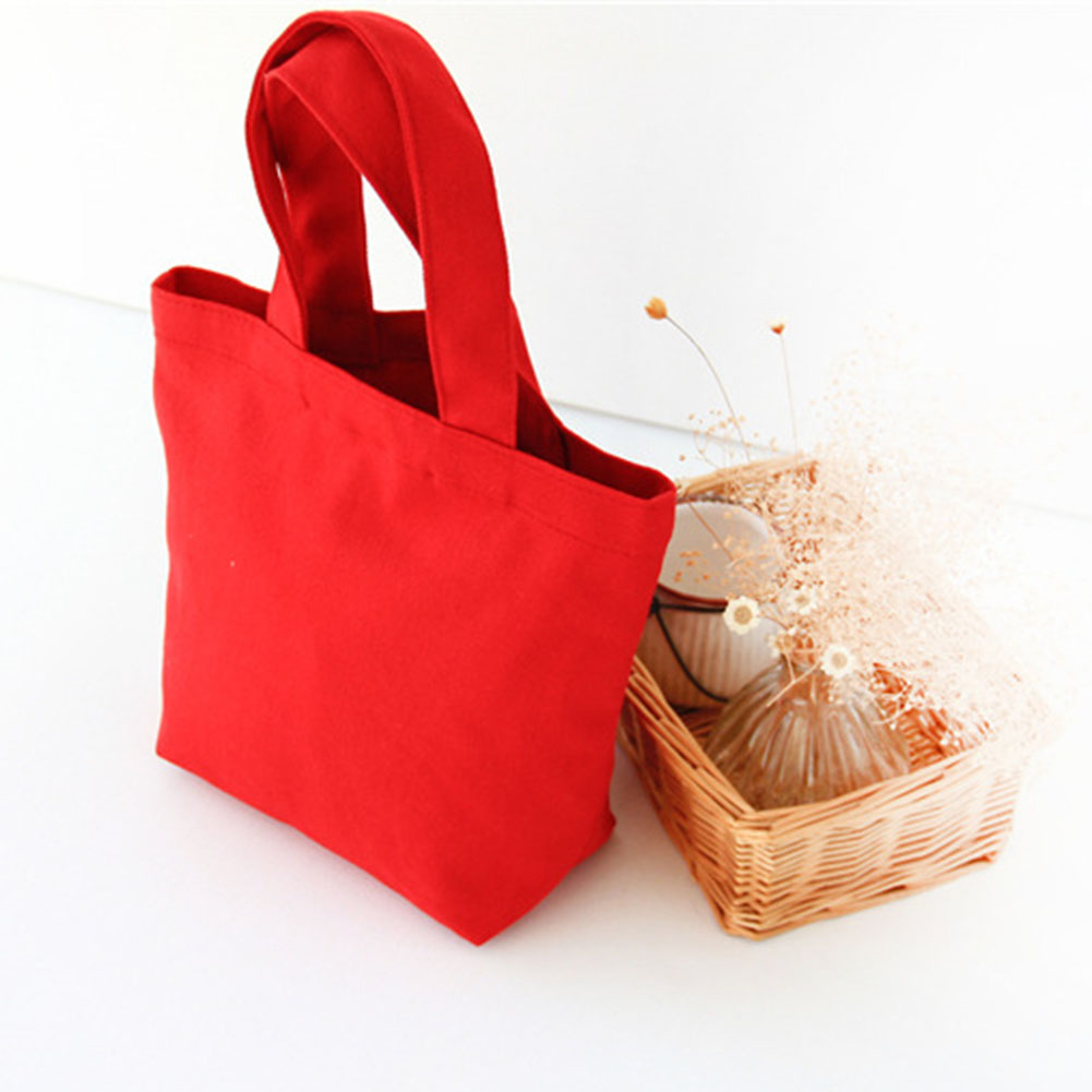 Bento Bag Pure Cotton Canvas Cloth Bags Portable Canvas Lunch Box Makeup Bag Handbag Storage Bags Love Heart Girlfriend Lunch