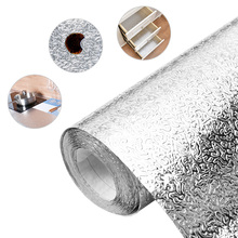 цена 3M/5M/10M Aluminum Foil  kitchen wallpaper waterproof self adhesive wallpaper sticker adhesive paper for furniture онлайн в 2017 году