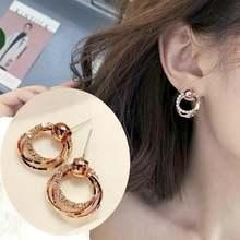Женские серьги в Корейском стиле кольца цвета розового золота