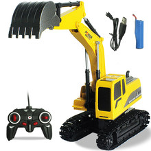 Oeak 2.4G Eight-Way Alloy Excavator Wireless Remote Control Excavator Creative RC Truck Beach Toy RC Engineering Car Trac(China)