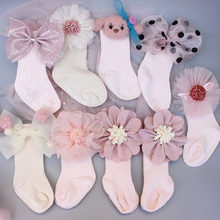 Girls Baby Socks Lace Mesh Flower Accessories Newborn Cotton Toddler Anti Slip Floor Socks Infant Clothing