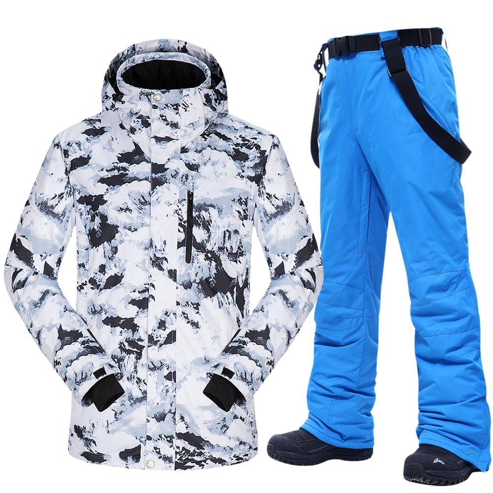 Новинка 2020, лыжный костюм, мужские зимние теплые ветрозащитные водонепроницаемые зимние куртки и брюки, горячее лыжное оборудование, куртк...