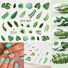 1 Sheet Watermark Feather Nail Water Decals Coconut Tree Summer Style Transfer Stickers Nail Art Sticker наклейки для ногтей
