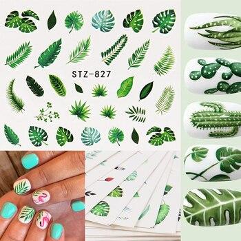 цена на 1 Sheet Watermark Feather Nail Water Decals Coconut Tree Summer Style Transfer Stickers Nail Art Sticker наклейки для ногтей
