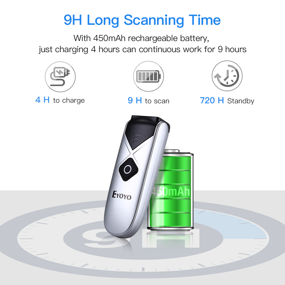 ipad iphone Eyoyo EY-015C CCD Mini Bluetooth Barcode Scanner USB Wired&2.4G Wireless 1D Scan Bar code for iPad iPhone Android Tablets PC (2)