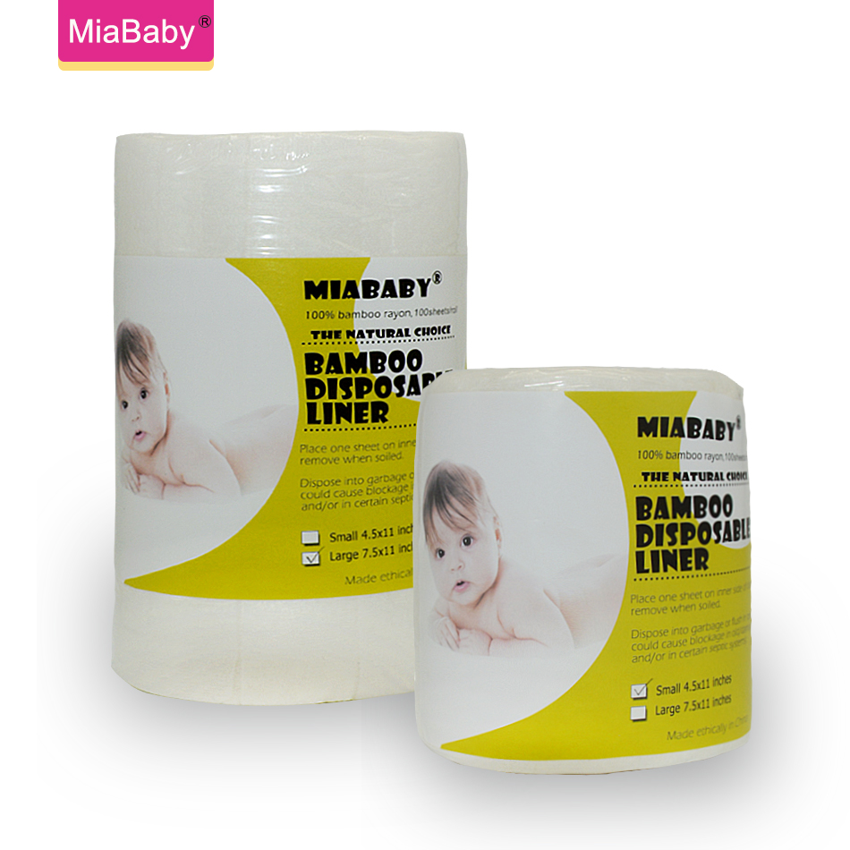 Miababy(3pcs/lot) Disposable Diapers Liners Biodegradable & Flushable Nappy Liners Cloth Diaper Liners 100% Bamboo Rayon