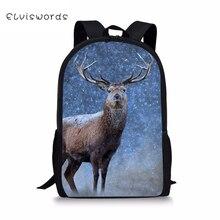 ELVISWORDS Childrens Backpacks Cartoon Deer Pattern Toddler Kids School Book Bags Kawaii Animal Fashion Girls Travel Backpack