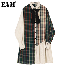 [Eam] feminino xadrez contraste cor plissado arco vestido nova lapela manga longa solto ajuste moda maré primavera outono 2020 1b757