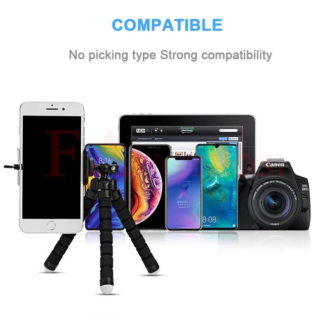 Fangtuosi mini flexível esponja polvo tripé para iphone xiaomi dobrável do telefone móvel smartphone tripé para gopro 8 7 câmera