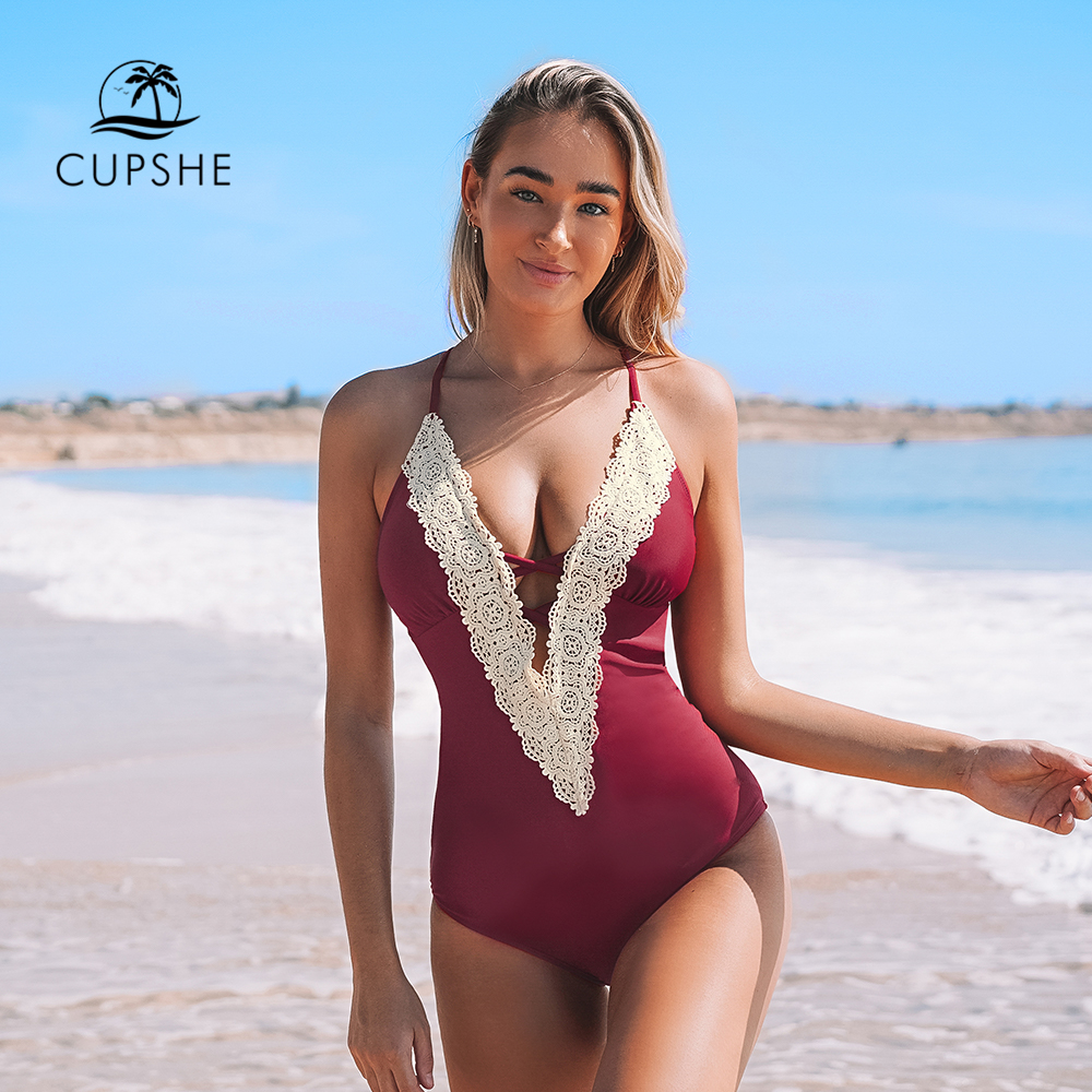 CUPSHE Lace Splicing Back Hook Closure One-piece Swimsuit Women Vintage V-neck Backless Monokini 2020 Sexy Bathing Suit Swimwear(China)