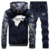 Jacket Winter Is Coming Men Sweatshirts+SweatPants 2 Piece Set Mens Camouflage Hoodies trousers Sets Wolf Tracksuit Warm Suit