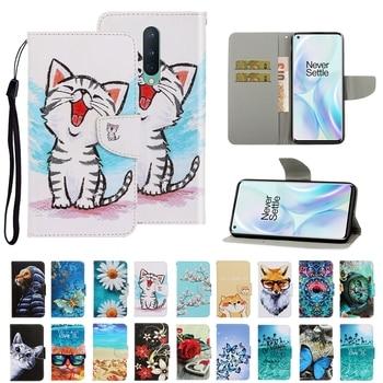 P40 Flip caso para estuche Huawei P40 Pro caso mujeres de dibujos animados gato flor Funda de teléfono de cuero PU para Funda Huawei P40 Lite E
