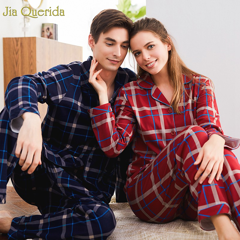 Couple Home Clothing Cardigan Long Sleeves 100% Cotton Men And Women Matching Pajamas Set Lapel Plaid Brand Home Suit Sleepwear