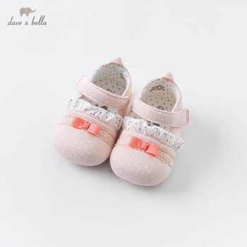 DB15632 Dave Bella autumn baby girls fashion bow dots first walkers new born girl cute shoes image