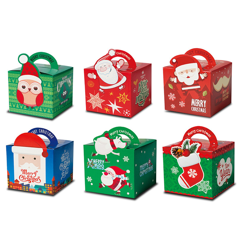 12pcs Merry Christmas Candy Gift Boxes Cartoon Santa Claus Snowman Christmas Party Goody Favor Gift Bags Xmas Party Decorations