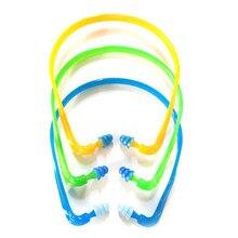 ¡Caliente! 1 Uds protección auditiva reutilizable para natación auriculares con reducción de ruido orejera silicona con cable tapones para los oídos Protector de oídos