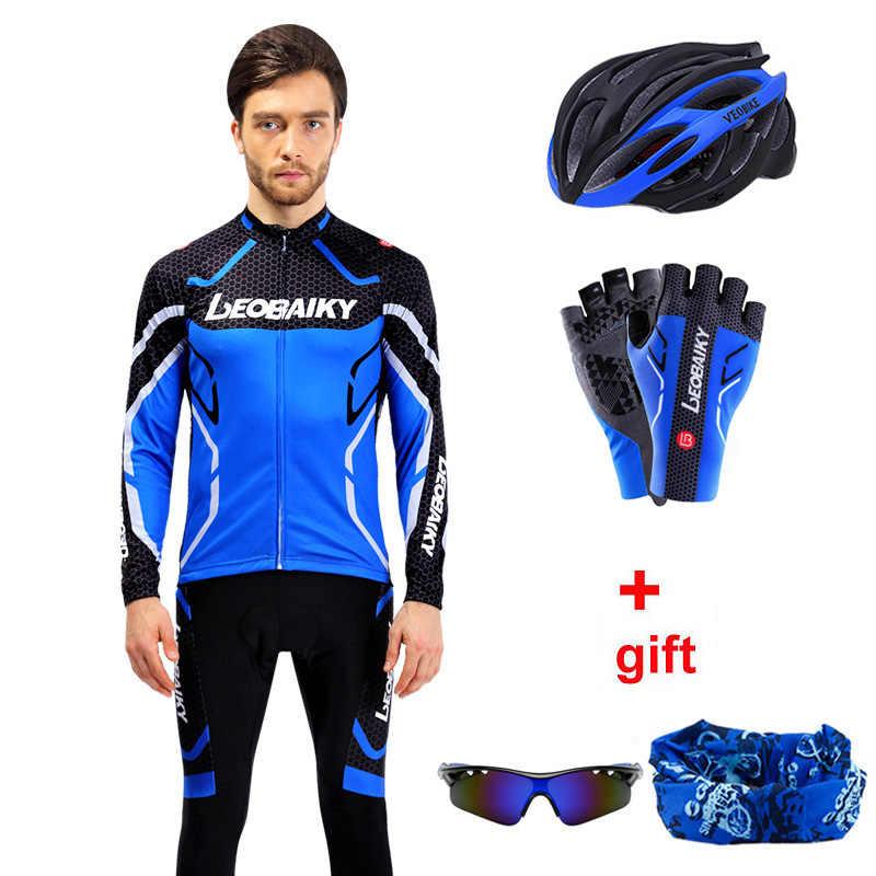 Profesjonalna odzież do kolarstwa drużynowego mężczyźni z długim rękawem koszulka na rower zestaw Sport MTB Wear szybkie suche męskie szosowe ubrania męskie kombinezon do jazdy
