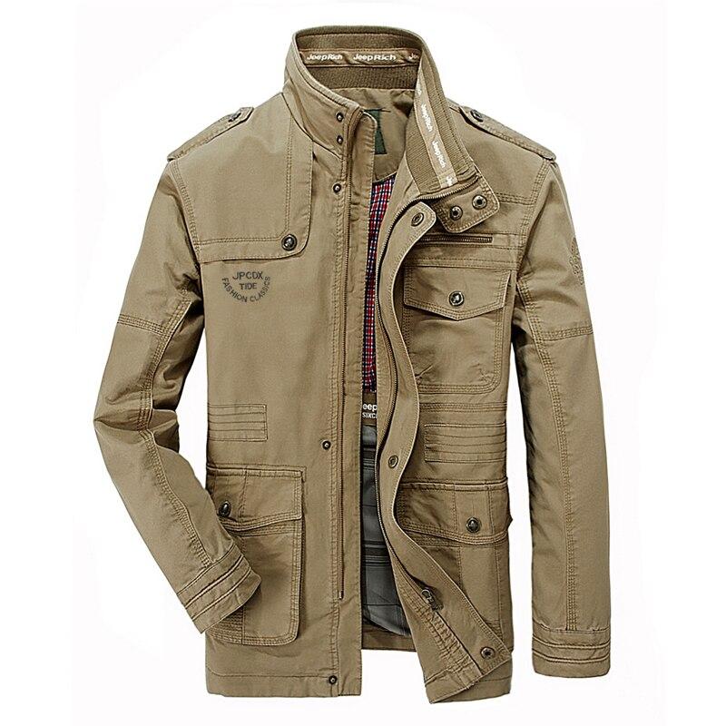 Erkek Kıyafeti'ten Ceketler'de 2019 AFS JEEP Ceket Büyük Boy 6XL 7XL Sonbahar Ceket Erkekler Pamuk Standı Yaka Çok cepler orta uzun kargo Safari Askeri Erkekler'da  Grup 1